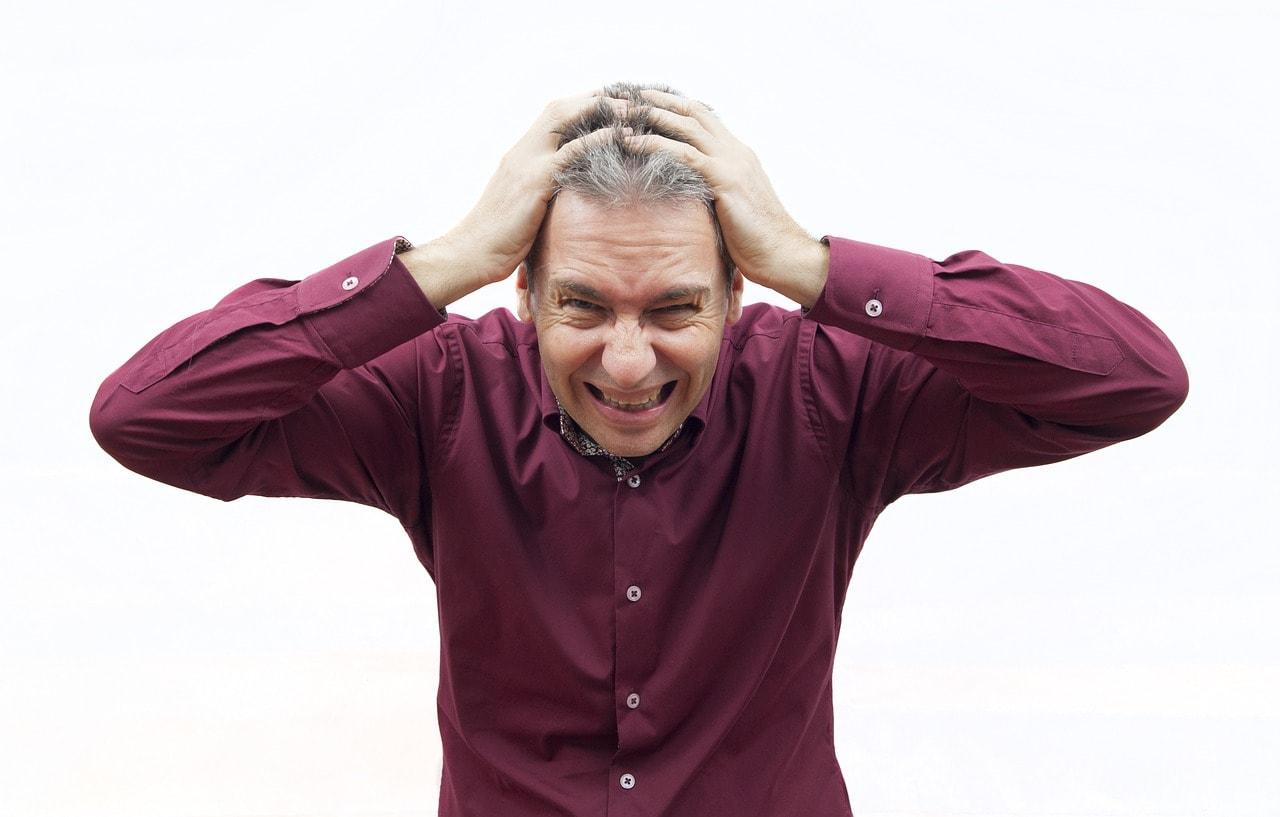 man facing stress